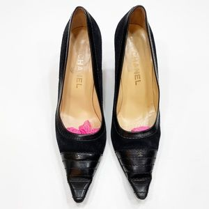 CHANEL Suede & Leather Black Pointed Toe Pumps